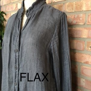 FLAX gray button down blouse long sleeve small